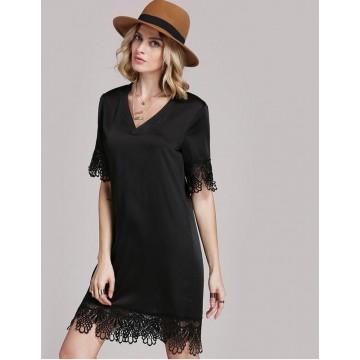 TE8802PTN Europe fashion v neck lace slim dress