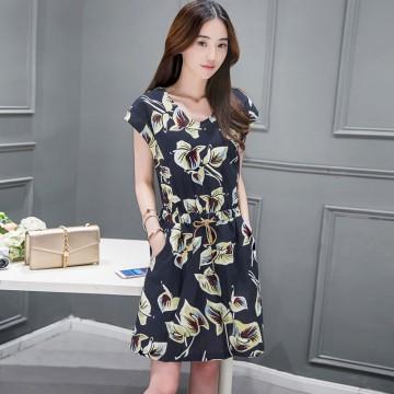 TE8822DDLY Korean style ramie cotton print drawstring waist short sleeve dress