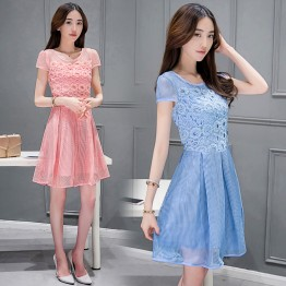 TE8823DDLY New style lace sweet empire waist short sleeve dress