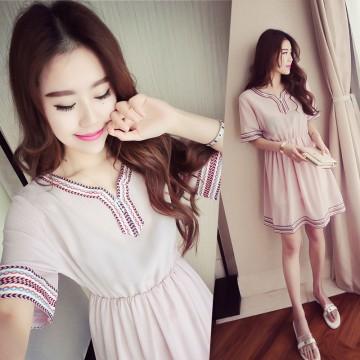 TE8891HYJ Plus size v neck national style embroidery slim waist dress