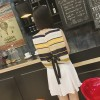 TE8891YGFS Stripes lacing back tops with skirt