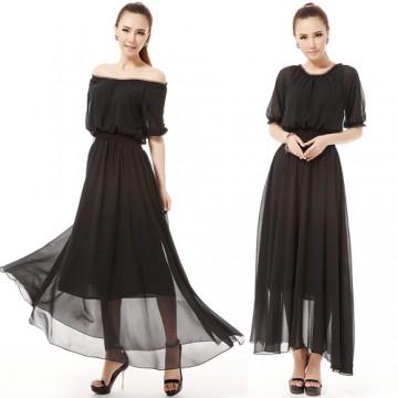 TE9002LMDS News style half sleeve round neck wide hem chiffon maxi dress