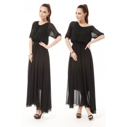 TE9002LMDS News style half sleeve round neck wide hem chiffon maxi dress
