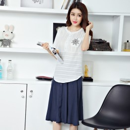 TE913XMT Vintage fresh ramie cotton short sleeve tops with skirt