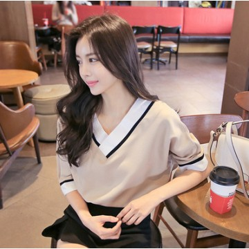 TE9170AYE Simple contract color v neck short sleeve tops