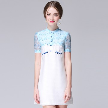 TE9648LLYG New style fresh embroidery contract color short sleeve dress