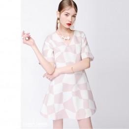 TE9649LLYG Europe fashion pink checks gentlewomen slim v neck dress