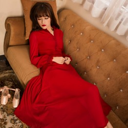TE9883LMDS Literature and art vintage gentlewomen long sleeve maxi dress