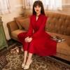 TE9883LMDS Literature and art vintage gentlewomen long sleeve maxi dress