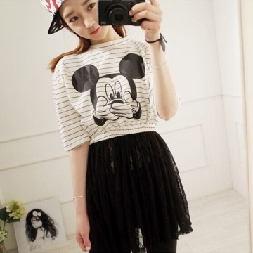 TE9909WJYS Lace splicing cartoon print stripes dress