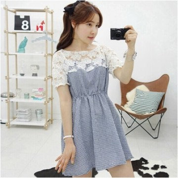 TE9917WJYS Korean style lace petal spicing check gentlewomen dress