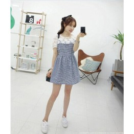TE9917WJYS Korean style lace petal spicing check gentlewomen dress