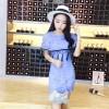TE9927YBF Clock lace tassel slim dress