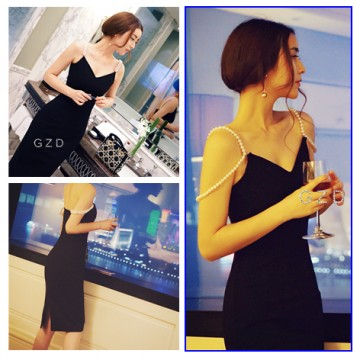 TE9930YBF V neck off shoulder pearls strap slim dress