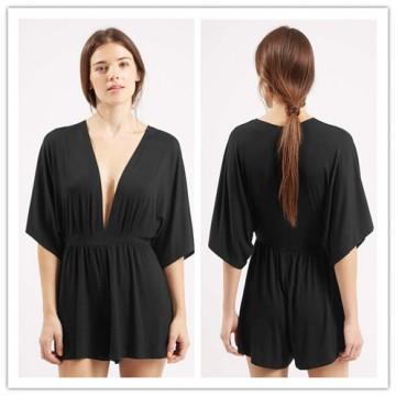 TE2215ALFS Europe fashion sexy deep v neck slim waist jumpsuit