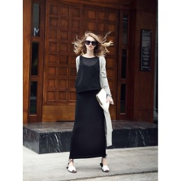 TE2216ALFS Europe fashion fake two piece tight hip slim maxi dress