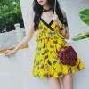 TE5257QBY Fashion vintage slim shivering print backless gallus dress