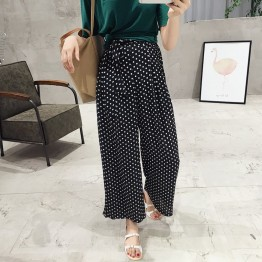 TE5266QBY New style good-looking dot wide leg chiffon pants