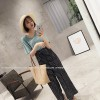 TE5266QBY New style good-looking dot wide leg chiffon pants