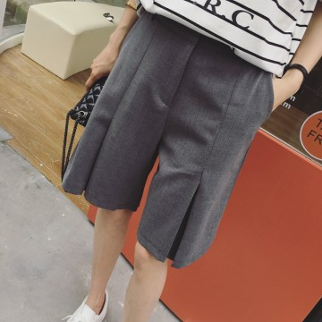 TE5268QBY New style Korean fashion casual empire waist wide leg half long pants