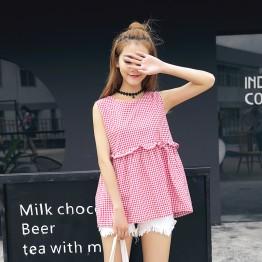 TE5270QBY New style Korean fashion loose joker pullover checks shirt