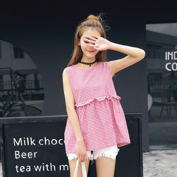 TE5270QBY New style Korean fashion loose joker pullover checks shirt
