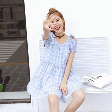 TE5274QBY Sweet fresh preppy style checks bowknot off shoulder doll dress
