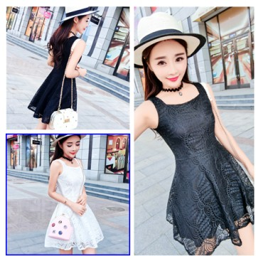 TE9920YBF Square collar sleeveless slim lace dress