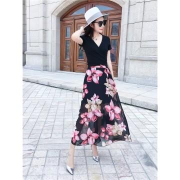 TE9951YBF Fashion sexy lacing short sleeve t-shirt with print chiffon skirt