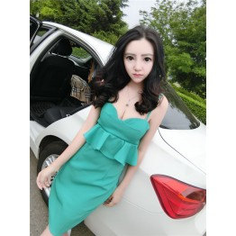 TE9954YBF Debutant sexy flouncing boob tube top slim formal dress