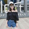 TE9957YBF Fashion pure color off shoulder boat neck t-shirt
