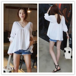 TE3043YZS Summer loose casual v neck three quarter sleeve tops