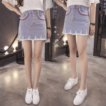 TE5144DDFS National style embroidery denim skirt