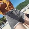 TE5145DDFS Empire waist irregular rough edge denim shorts