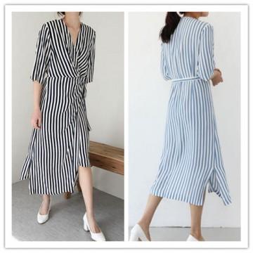TE6433YZS Fashion vertical stripes irregular slim waist dress