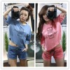 TE6434YZS Candy color macarons batwing sleeve letter print t-shirt with shorts