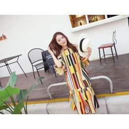 TE6436YZS Holiday style geometry colorful stripes off shoulder backless beach maxi dress
