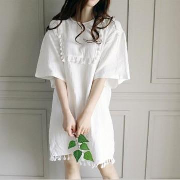 TE6438YZS Preppy style gentlewomen lace tassel loose dress