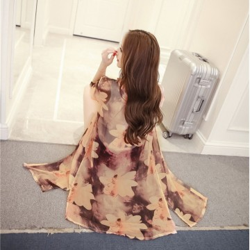 TE804AYG Print long chiffon sunscreen cardigan