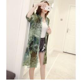 TE804AYG Print long chiffon sunscreen cardigan