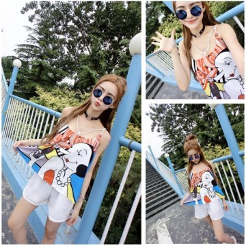 TE8307SSGD Sweet print sexy off shoulder tops with joker shorts