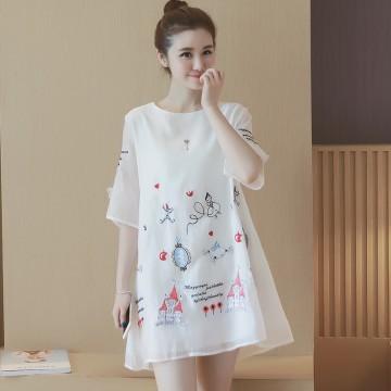 TE8810SYM Interest cartoon embroidery organza maternity dress