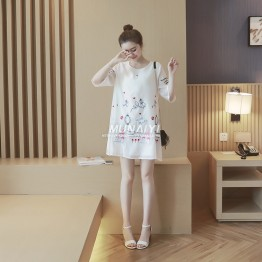 TE8810SYM Interest cartoon embroidery organza maternity dress