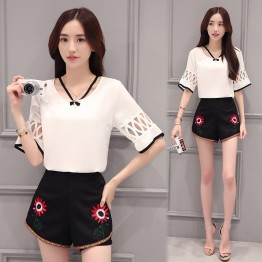 TE8825JDYJ Lace splicing chiffon shirt with embroidery shorts