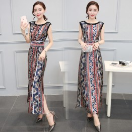 TE8826JDYJ Geometry pope vintage print empire waist side slit maxi dress