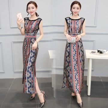 TE8826JDYJ Geometry pope vintage print empire waist side slit maxi dress