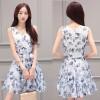 TE8827JDYJ Temperament print v neck two pieces dress
