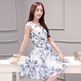 TE8827JDYJ Temperament print v neck two pieces dress