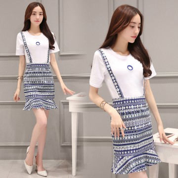 TE8829JDYJ National style print shivering suspender skirt with white t-shirt