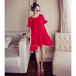 TE8855SYM Flouncing loose slim maternity dress